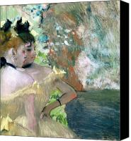 Pastel On Paper Canvas Prints - Dancers in the Wings  Canvas Print by Edgar Degas