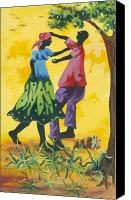Haitian Canvas Prints - Dancing Couple Canvas Print by Herold Alvares