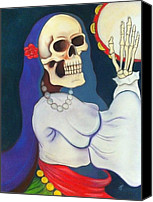 Skull Pastels Canvas Prints - Dancing Dead Gypsy Girl Canvas Print by Carrie Ann Benson
