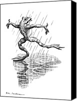 Anthropomorphism Canvas Prints - Dancing In The Rain, Conceptual Artwork Canvas Print by Bill Sanderson