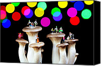 Starry Night Canvas Prints - Dancing on mushroom under starry night Canvas Print by Mingqi Ge