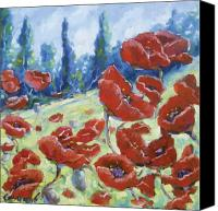 Prankearts Canvas Prints - Dancing Poppies Canvas Print by Richard T Pranke