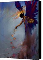 Orange Mixed Media Canvas Prints - Dancing the Lifes Web Star Gifter Does Canvas Print by Stephen Lucas
