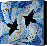 Cloth Tapestries - Textiles Canvas Prints - Dancing With the Chinook Canvas Print by Linda Beach