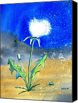 Carlin Blahnik Painting Canvas Prints - Dandelion Moonlight Canvas Print by Carlin Blahnik