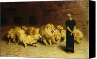 Oil On Canvas Canvas Prints - Daniel in the Lions Den Canvas Print by Briton Riviere