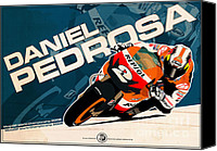 Motogp Canvas Prints - Daniel Pedrosa - MotoGP 2008 Canvas Print by Evan DeCiren