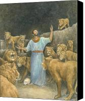 Prayer Pastels Canvas Prints - Daniel Praying in Lions Den Canvas Print by Robert Casilla