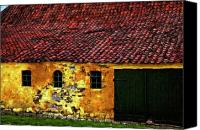 Barn Digital Art Canvas Prints - Danish Barn watercolor version Canvas Print by Steve Harrington