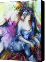 Contemplative Canvas Prints - Danseuse with Mentor Canvas Print by Claire Sallenger Martin