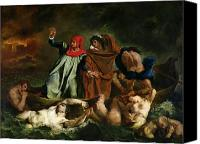 Legend Canvas Prints - Dante and Virgil in the Underworld Canvas Print by Ferdinand Victor Eugene Delacroix