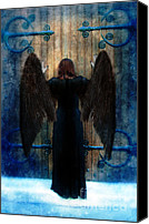 Woman Waiting Canvas Prints - Dark Angel at Church Doors Canvas Print by Jill Battaglia