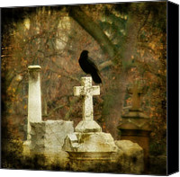 Halloween Scene Canvas Prints - Dark Autumn Canvas Print by Gothicolors With Crows