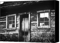 Cabin Window Canvas Prints - Dark Cabin Canvas Print by Lj Lambert