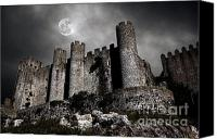 Gray Canvas Prints - Dark Castle Canvas Print by Carlos Caetano