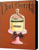 Cake-stand Canvas Prints - Dark Chocolate Cupcake Canvas Print by Catherine Holman