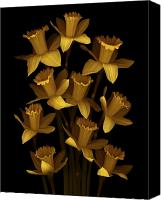Scanner Canvas Prints - Dark Daffodils Canvas Print by Marsha Tudor