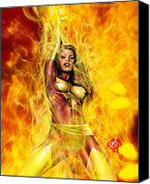 Comic. Marvel Canvas Prints - Dark Phoenix Canvas Print by Pete Tapang