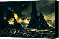 Moon Mixed Media Canvas Prints - Dark Planet Canvas Print by Bob Orsillo