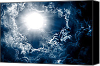 Dramatic Light Mixed Media Canvas Prints - Dark Sky With Sun Canvas Print by Nattapon Wongwean