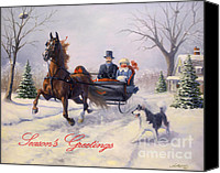 Christmas Cards Canvas Prints - Dashing Through The Snow Canvas Print by Jeanne Newton Schoborg