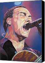 Singer Drawings Canvas Prints - Dave Matthews Colorful Full Band Series Canvas Print by Joshua Morton