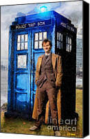 Tardis Canvas Prints - David Tennant as Doctor Who and Tardis Canvas Print by Elizabeth Coats