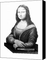 Celebrities Drawings Canvas Prints - DaVinci-Mona Lisa-Murphy Elliott Canvas Print by Murphy Elliott