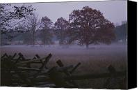 Fences Canvas Prints - Dawn Mist Hangs Over A Field Bordered Canvas Print by Stephen St. John
