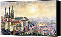 Cathedral Canvas Prints - Dawn of Prague Canvas Print by Yuriy  Shevchuk