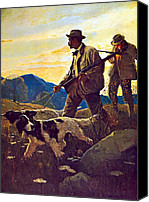Winchester Canvas Prints - Dawn Of The Open Season Canvas Print by N C Wyeth
