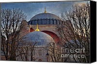 Byzantine Photo Canvas Prints - Dawn over Hagia Sophia Canvas Print by Joan Carroll