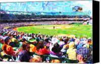 Major League Baseball Digital Art Canvas Prints - Day Game At The Old Ballpark Canvas Print by Wingsdomain Art and Photography