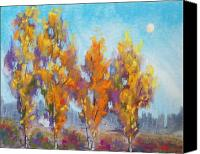 Trees Pastels Canvas Prints - Day Lit Moon Canvas Print by Christine Kane