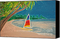 Palm Trees Pastels Canvas Prints - Day Sailer Canvas Print by First Star Art 