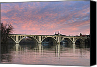 D.c. Photo Canvas Prints - DC Sunrise over the Potomac River Canvas Print by Brendan Reals