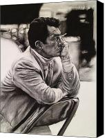 Frank Sinatra Drawings Canvas Prints - Dean Martin Canvas Print by Steve Hunter