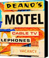 Hotels Digital Art Canvas Prints - Deanos Motel Canvas Print by Wingsdomain Art and Photography
