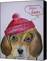 Christmas Cards Painting Canvas Prints - Dear Santa Canvas Print by Leslie Manley