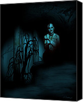 Zombie Digital Art Canvas Prints - Death Becomes Her Canvas Print by Jean Gugliuzza