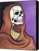 Skull Pastels Canvas Prints - Death in Violet Canvas Print by Carrie Ann Benson