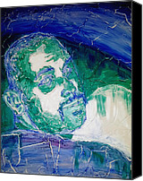 Head Reliefs Canvas Prints - Death Metal Portrait in Blue and Green with Fu Man Chu Mustache and Cracking Textured Canvas Canvas Print by M Zimmerman