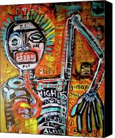 Neo Expressionism Canvas Prints - Death Of Basquiat Canvas Print by Robert Wolverton Jr