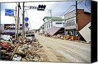 Bswh Canvas Prints - Debris Rubble And Damaged Vehicles Line Canvas Print by Everett