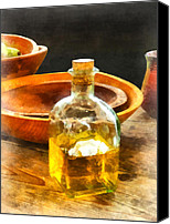 Wooden Bowls Canvas Prints - Decanter of Oil Canvas Print by Susan Savad
