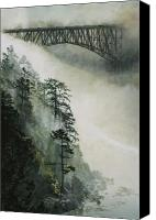 Island Canvas Prints - Deception Pass Fog Canvas Print by Perry Woodfin