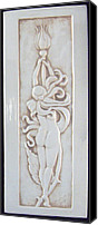 Nudes Ceramics Canvas Prints - Decorative relief carved nude art nouveau rose fairy tile Canvas Print by Shannon Gresham