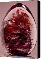 Art Sculpture Glass Art Canvas Prints - Deep Reds II  PRE1 Canvas Print by David Patterson