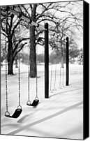 Bare Tree Canvas Prints - Deep Snow & Empty Swings After The Blizzard Canvas Print by Trina Dopp Photography