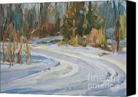 River Framed Prints Painting Canvas Prints - Deep Snow Canvas Print by Thomas Wezwick